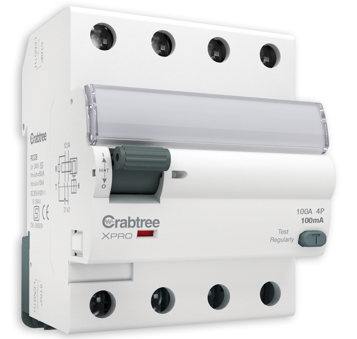 Crabtree - Higher Rating RCCB  AC  Type FP 100mA-100A